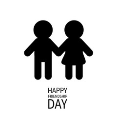 Happy friendship day boys girls holding hands vector