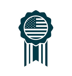 happy independence day american flag medal vector image