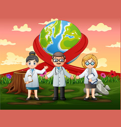 Happy world day with three doctors standing vector