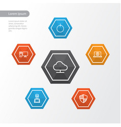 hardware outline icons set collection of notebook vector image
