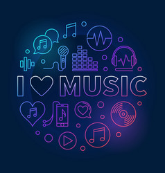 I love music circular colored vector