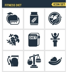 Icons set premium quality of fitness diet promises vector image