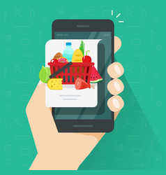 internet food delivery or order via mobile phone vector image