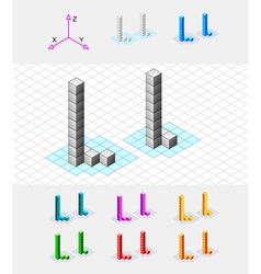 Isometric font from the cubes Letter L vector