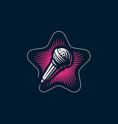 karaoke club design microphone on star vector image