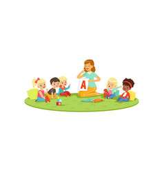 Kids sitting on carpet with teacher and learning vector