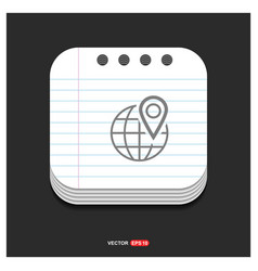 Map pin icon gray icon on notepad style template vector