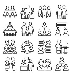 meeting icons set on white background line style vector image