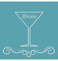Menu cover design with martini glass calligraphic vector image