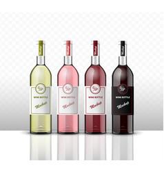 mock up four bottles wine on a transparent vector image