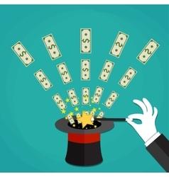 Money out the hat magic trick concept vector