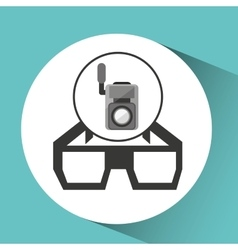 movie video camera 3d glasses icon vector image