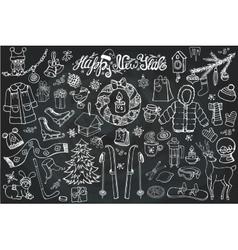 New year season doodle iconssymbolsLinear Chalk vector image