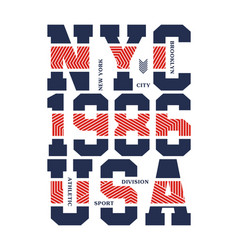 nyc 1986 usa typography design vector image