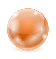 Orange glass ball shiny 3d sphere vector