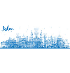 Outline lisbon skyline with blue buildings vector