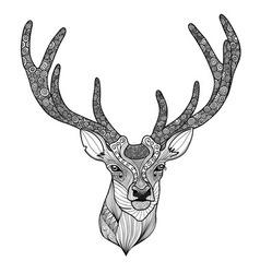 Patterned deer head with big antlers vector