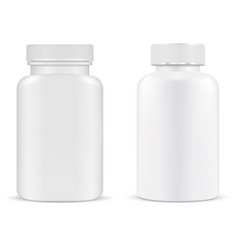 pill bottle plastic supplement container vitamin vector image