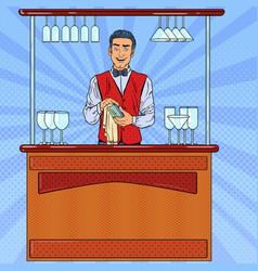 pop art smiling bartender wiping glass in bar vector image