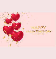 red glittering heart shape balloons with gold vector image