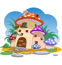 Red mushroom house cartoon fabulous mushroom house vector