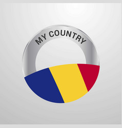 romania my country flag badge vector image