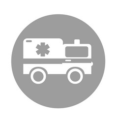 round icon ambulance car cartoon vector image