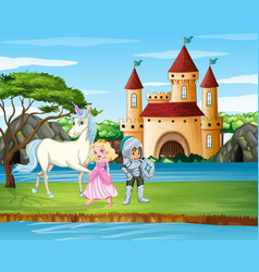 Scene with knight and princess castle vector