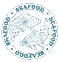 Seafood stamp with fish vector