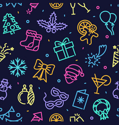 seamless background with neon symbols new year vector image