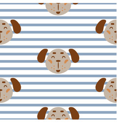 Seamless pattern with dogs cute childish textile vector