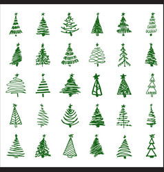 set hand-drawn sketch christmas and new year tree vector image vector image