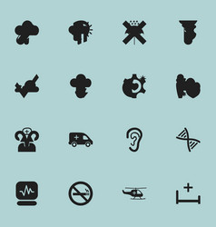 Set of 16 editable health icons includes symbols vector