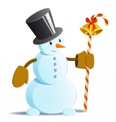snowman in black tall hat vector image