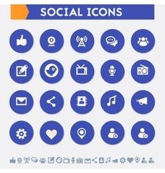 Social icon set Material circle buttons vector