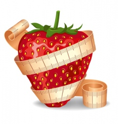 strawberry in a measuring tape vector image