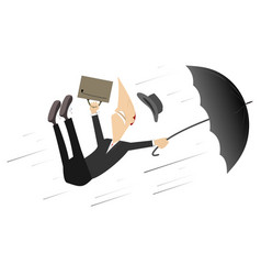 strong wind rain and man with umbrella vector image