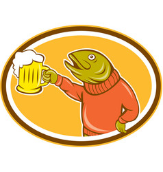Trout Fish Holding Beer Mug Oval Cartoon vector image