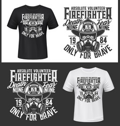 tshirt print with firefighters equipment gas mask vector image