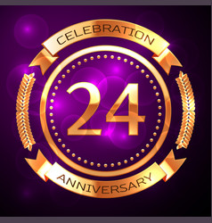 Twenty four years anniversary celebration with vector