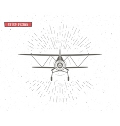 Vintage airplane background with sunbursts flying vector