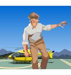 abstract cartoon man in uniform comes vector image