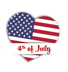 independence day card us flag in a shape of heart vector image vector image