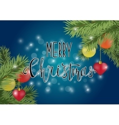 Merry christmas calligraphy on blue background vector image