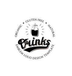 organic gluten free natural drinks round logo vector image vector image