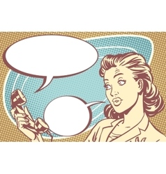 surprised girl talking on the phone vector image