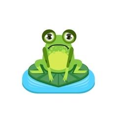 Upset Cartoon Frog Character vector image