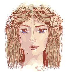 Young beautiful face vector image vector image