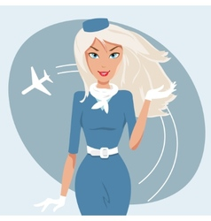 beautiful stewardess vector image