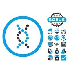 DNA Spiral Flat Icon with Bonus vector image